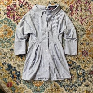 Jacquemus Off-Shoulder Blue Shirt Skirt